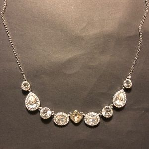 Givenchy Silver tone crystal and stone necklace